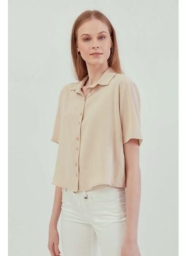 Vitrin VİTRİN Yakalı Kısa Kol Crop Gömlek Bej